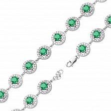 Серебряный браслет Джулия с синтезированными изумрудами и фианитами