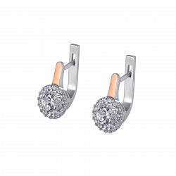 Серебряные серьги Жанна с золотыми накладками и фианитами