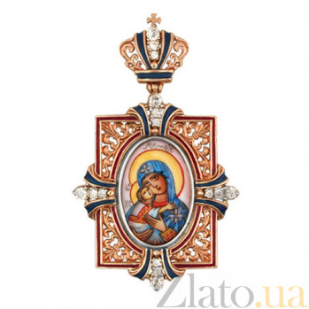 Золотая ладанка Богородица с Младенцем VLT--Э313-1