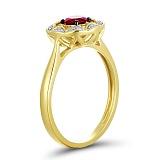Кольцо Мия из желтого золота с бриллиантами и гранатом