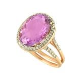 Золотое кольцо с аметистом и бриллиантами Юнис