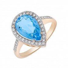 Кольцо в красном золоте Каролина с голубым топазом и фианитами