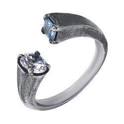 Кольцо из серебра Uef с фианитами и чернением 000091456
