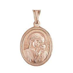Овальная ладанка Богородица Казанская из красного золота