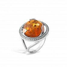 Серебряное кольцо Жюльетта с золотыми накладками, янтарем и фианитами