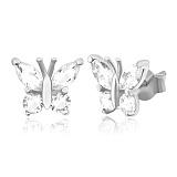 Серьги из серебра с фианитами Сверкающие крылышки
