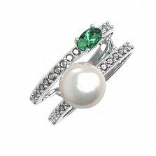 Серебряное кольцо Дора с зеленым кварцем, жемчугом и фианитами
