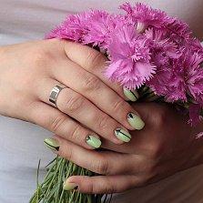 Обручальное кольцо из золота белого цвета. Европейская модель