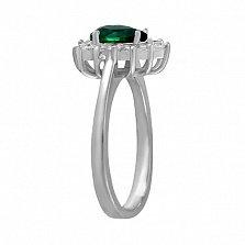 Серебряное кольцо Пенелопа с зеленым и белыми фианитами