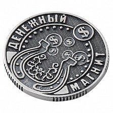Серебряная монета Денежный магнит с чернением