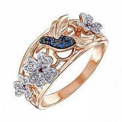 Золотое кольцо в комбинированном цвете с разноцветными фианитами 000138411