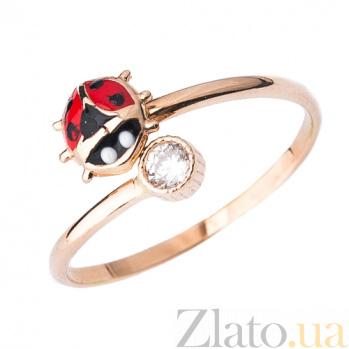 Золотое кольцо с фианитом и цветной эмалью Божья коровка ONX--к03697