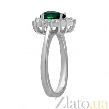 Серебряное кольцо с зеленым фианитом Брюссель 000028317