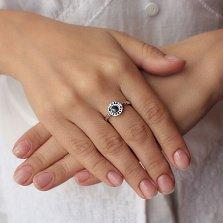 Серебряное кольцо Магический круг с черной эмалью в стиле Булгари