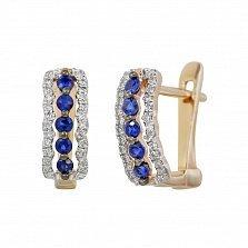 Золотые серьги с сапфирами и бриллиантами Морские волны