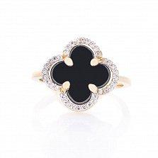 Золотое кольцо-клевер Паллада с черным ониксом и фианитами в стиле Ван Клиф