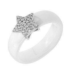 Кольцо из белой керамики и серебра с фианитами  000131762