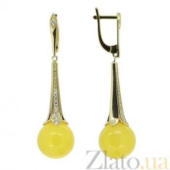 Золотые серьги в жёлтом цвете с цирконием и янтарём Челани 000027328