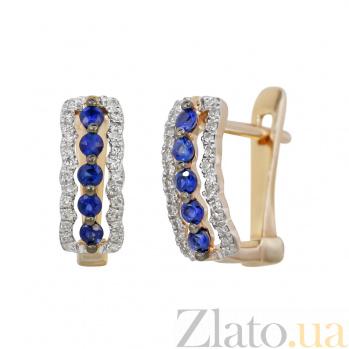 Золотые серьги с сапфирами и бриллиантами Морские волны 000032329