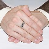 Серебряное кольцо с золотой вставкой и фианитом Спаси и сохрани
