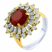 Кольцо из серебра и бронзы Маргарет с рубином и фианитами