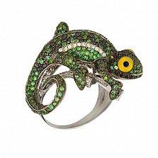 Кольцо из белого золота Ящерица с фианитами
