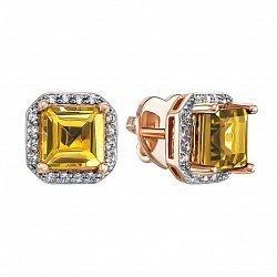 Серьги-пуссеты в комбинированном цвете золота с цитринами и фианитами с родированием 000134794