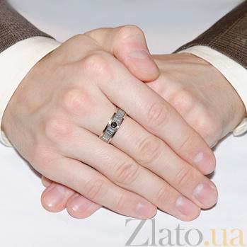 Серебряное кольцо с золотой вставкой и фианитом Спаси и сохрани BGS-200-к/1 ч
