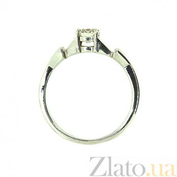 Золотое кольцо в белом цвете с бриллиантом Вивиан 000021492