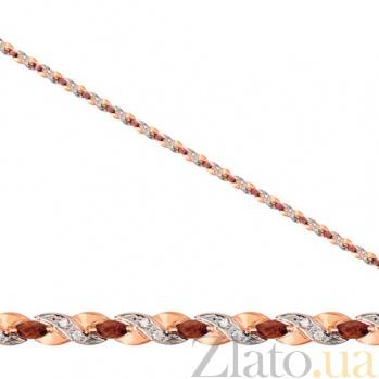 Золотой браслет Колосок с гранатом и фианитами VLT--НН517