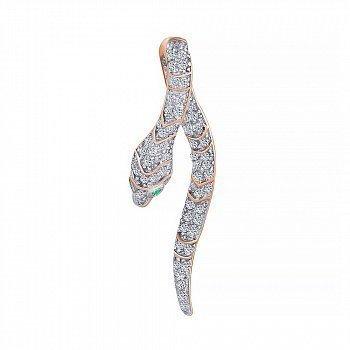 Срібна підвіска Змійка з позолотою, білими і зеленими фіанітами 000070118