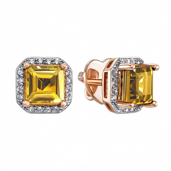 Серьги-пуссеты в комбинированном цвете золота с цитринами и фианитами с родированием 000134794 000134794