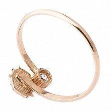 Золотое кольцо с фианитом и цветной эмалью Божья коровка