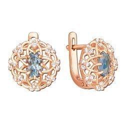Серьги из красного золота с топазами и фианитами 000134692