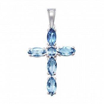 Серебряный крестик с голубым кварцем 000141319