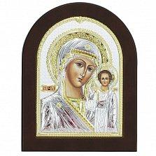Икона на деревянной основе Казанская с эмалью и позолотой, 13х17