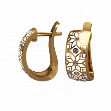 Золотые серьги Алатырь с белой эмалью и бриллиантами