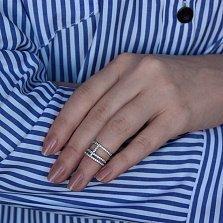 Серебряное фаланговое кольцо Темпола с фианитами