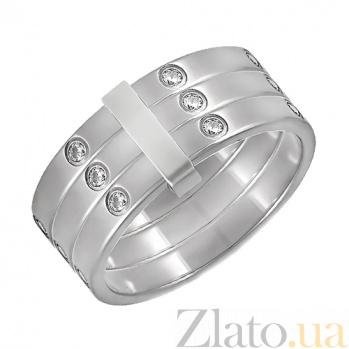 Тройное кольцо из белого золота с фианитами Петти ONX-к02621