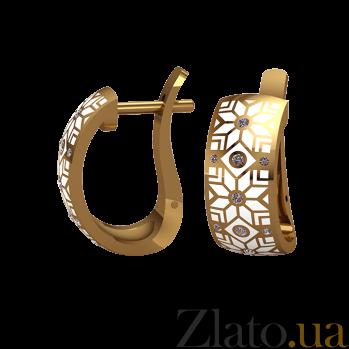 Золотые серьги Алатырь с белой эмалью и бриллиантами 000068673