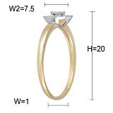 Кольцо Майя из комбинированного золота с бриллиантом