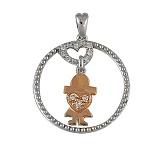Золотой кулон Девчоночья любовь с бриллиантами