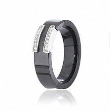 Керамическое кольцо Венера с серебром и цирконием