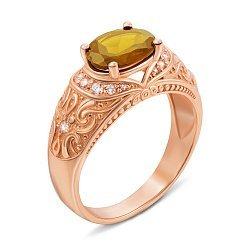 Кольцо из красного золота с цитрином и фианитами 000137294