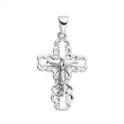 Серебряный крестик с узорной основой 000117952