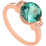 Золотое кольцо с зеленым аметистом и фианитами Крейтер