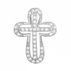 Серебряный крестик с фианитами Благословение 000035182