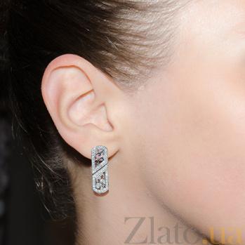Серебряные серьги с фианитами Марлен 000015095