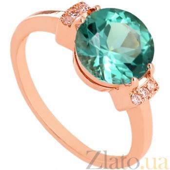 Золотое кольцо с зеленым аметистом и фианитами Крейтер 000024474