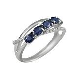 Золотое кольцо с бриллиантами и сапфирами Горные ручьи